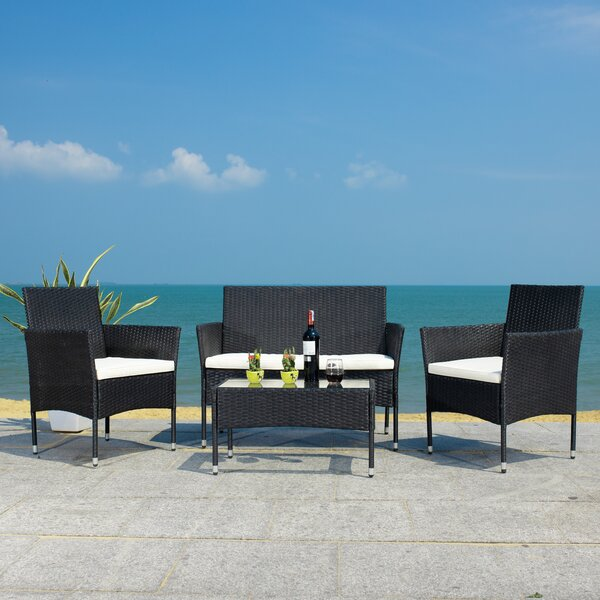 Abdul 4 Piece Rattan Sofa Seating Group with Cushions by Latitude Run