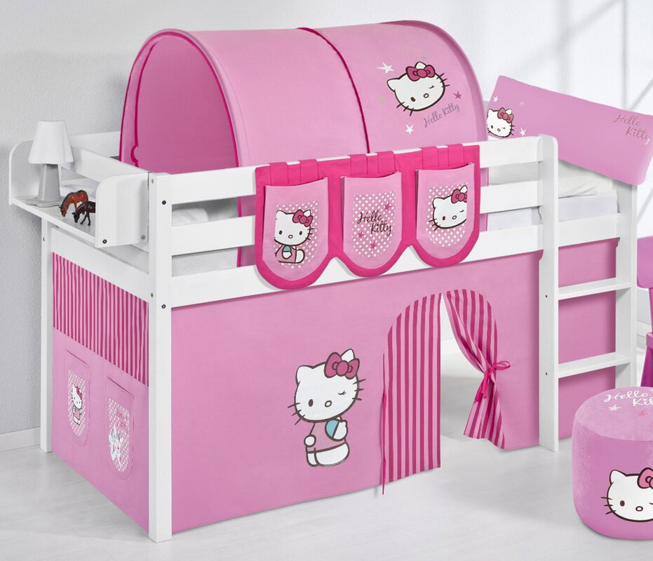lilokids hochbett hello kitty mit vorhang 90 x 200 cm. Black Bedroom Furniture Sets. Home Design Ideas