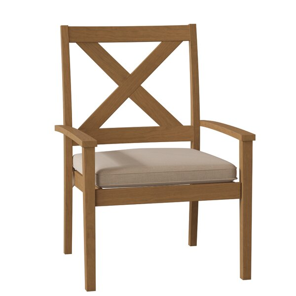 Drake X Back Teak Stacking Patio Dining Chair with Cushion by Summer Classics