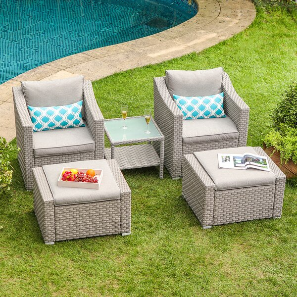 Bhandary 5-Piece Rattan Seating Group Outdoor with Cushions by Wrought Studio