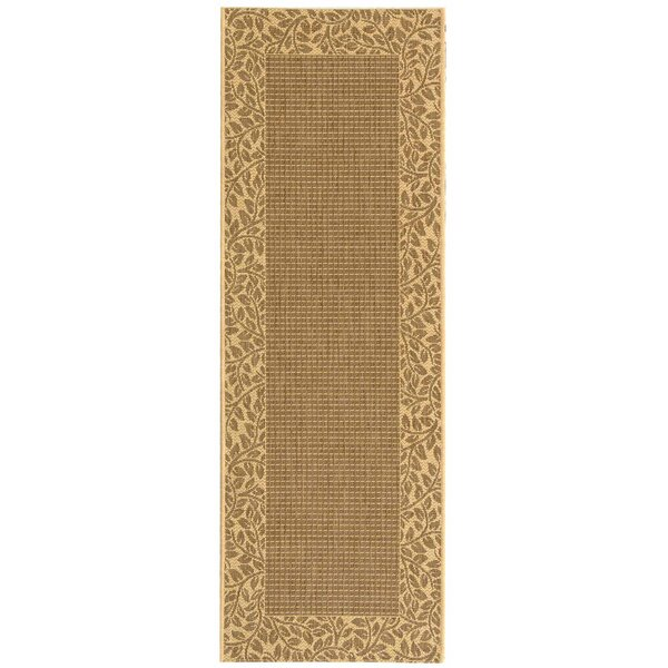 Amaryllis Leaves Border Brown/Natural Indoor/Outdoor Area Rug by Bay Isle Home