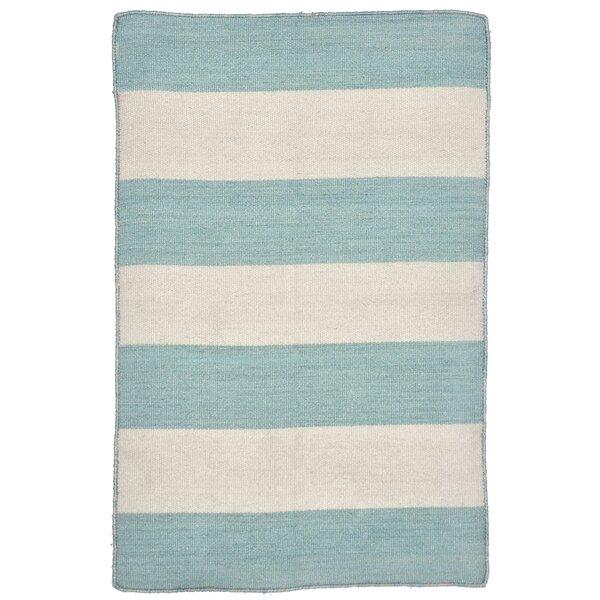 Ranier Stripe Hand-Woven Blue/Beige Indoor/Outdoor Area Rug by Beachcrest Home