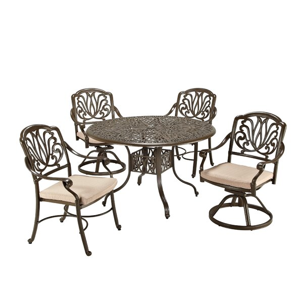 Russo 5 Piece Dining Set with Cushions by One Allium Way
