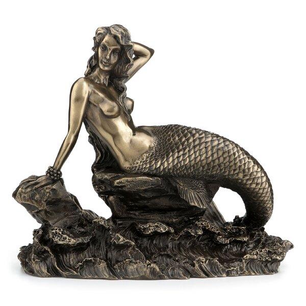 Botelho Mermaid Sitting on Rock Figurine by Highland Dunes
