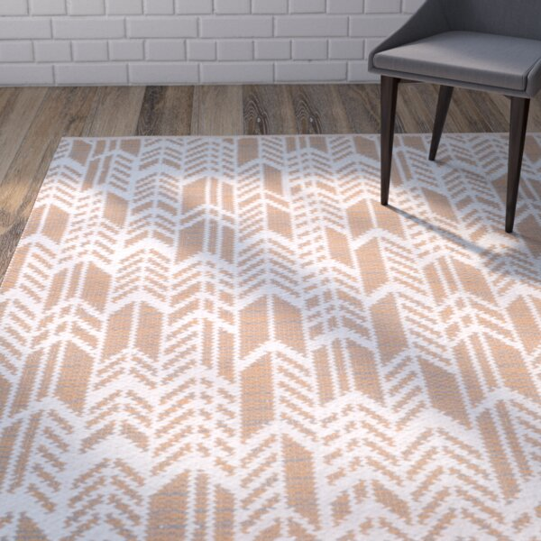 Paz Hand-Woven Orange/Ivory Area Rug by Wrought Studio