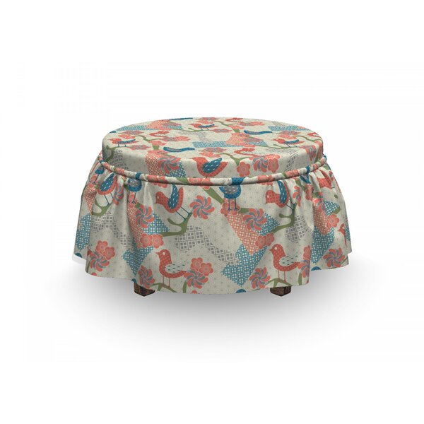 Asian Japanese Nature 2 Piece Box Cushion Ottoman Slipcover Set By East Urban Home