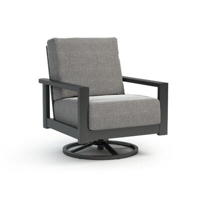 South Lamar Swivel Patio Chair with Sunbrella Cushion Gracie Oaks Frame Color: Carbon, Fabric Color: Cast Slate