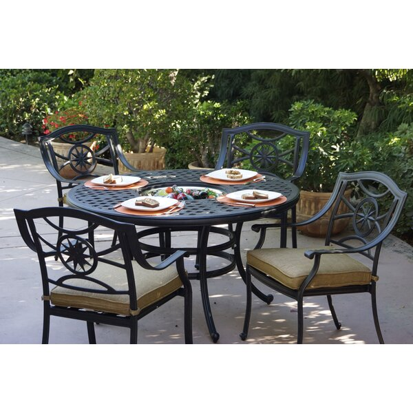 Thompsontown 5 Piece Dining Set with Cushions by Alcott Hill
