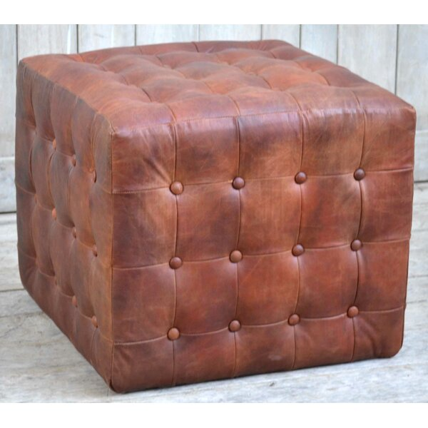 Dilorenzo Leather Pouf by 17 Stories