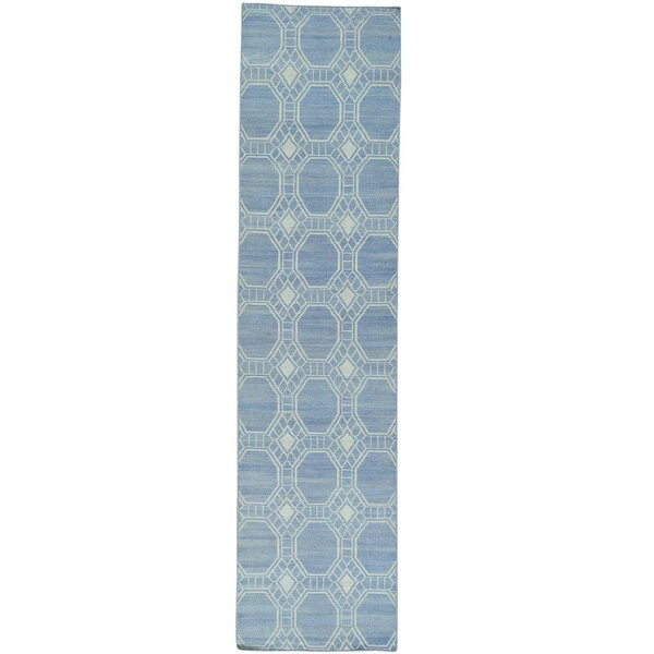 One-of-a-Kind Reversible Flat Weave Durie Kilim Hand-Knotted Sky Blue Area Rug by Bungalow Rose