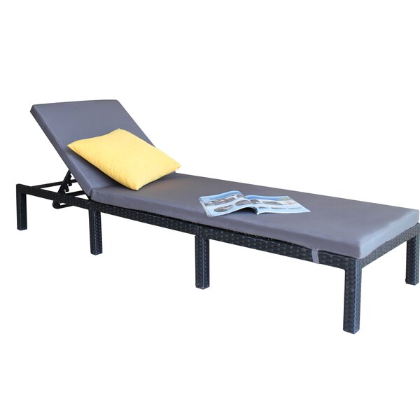 Bingen Outdoor Adjustable Reclining Chaise Lounge with Cushion