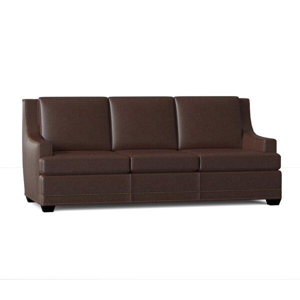 Genuine Leather 92 Recessed Arm Sofa