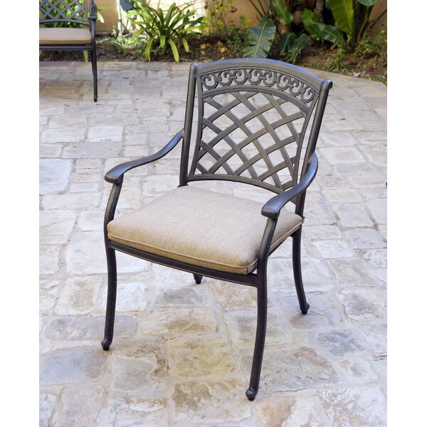 Delphos Stacking Patio Dining Chair with Cushion (Set of 4) by Fleur De Lis Living