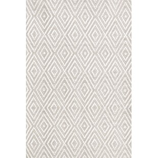 Budget Diamond Hand-Woven Platinum/White Indoor/Outdoor Area Rug By Dash and Albert Rugs