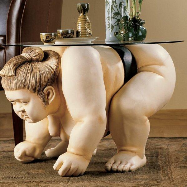 Basho The Sumo Wrestler Sculpture End Table By Design Toscano