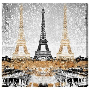 Oliver Gal Triple Paris Gold Graphic Print on Canvas by Oliver Gal