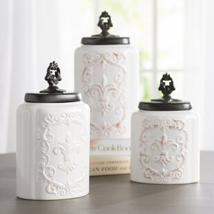 Fleur De Lis 3 Piece Kitchen Canister Set