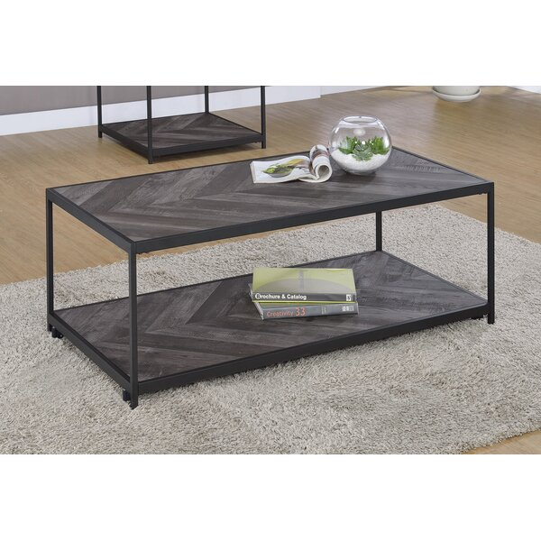 Stever 1-Shelf Coffee Table With Casters Rustic Grey Herringbone By Union Rustic