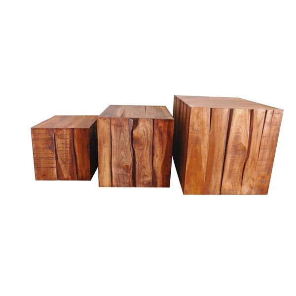 Cube 3-Piece Teak Wood Planter Box Set by Nicahome LLC