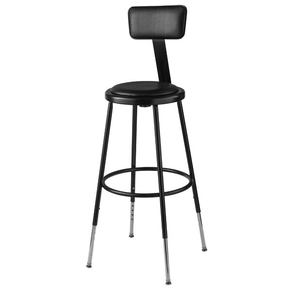 Height Adjustable Stool with Adjustable Backrest by National Public Seating