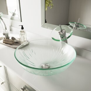 Great choice Icicles Glass Circular Vessel Bathroom Sink with Faucet ByVIGO