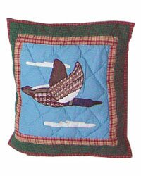 Loon Flying Geese Cotton Throw Pillow by Patch Magic