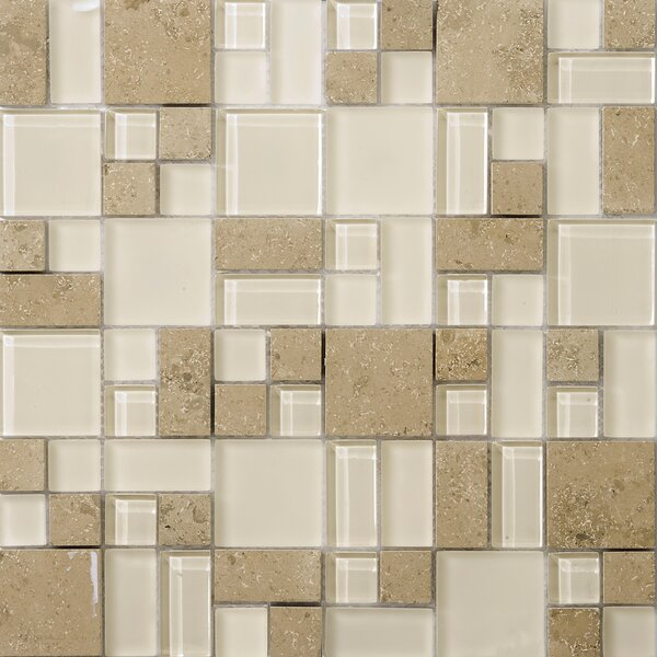Lucente 13 x 13 Glass Stone Blend Pattern Mosaic Tile in Lido by Emser Tile