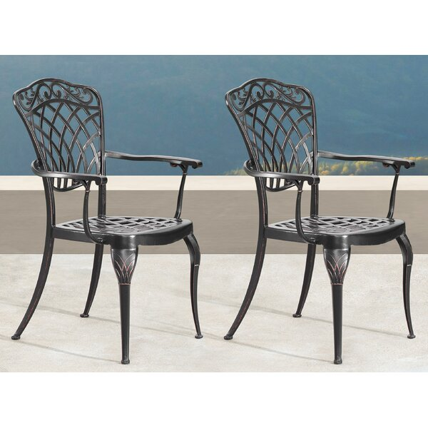 Laurene Mesh Lattice Patio Dining Chair (Set of 2) by Fleur De Lis Living