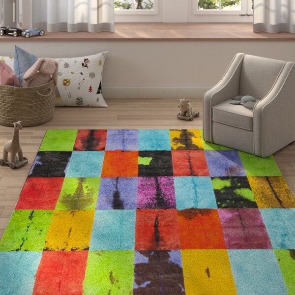 Latisha Hand-Woven Black/Red Area Rug by Zoomie Kids