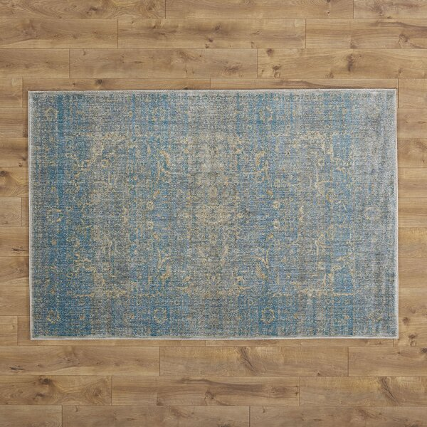 Jonas Teal Blue Mustard Beige Area Rug by Birch Lane™