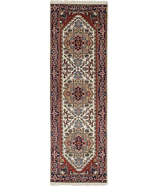 One-of-a-Kind Doerr Hand-Knotted Cream/Orange/Red Area Rug by Isabelline