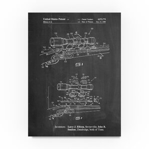 'Black Powder Rifle Scope' Drawing Print on Wrapped Canvas