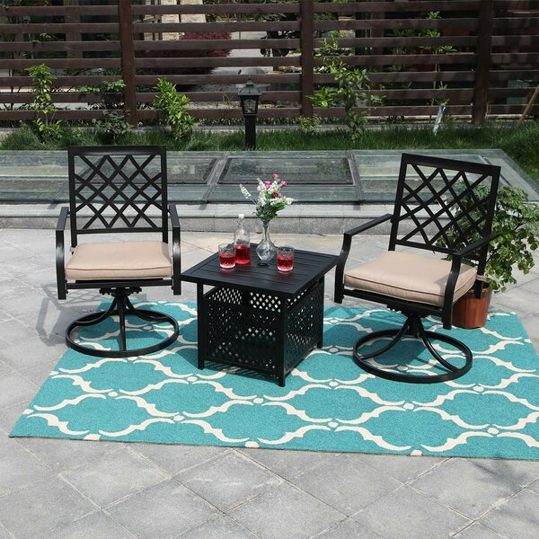 Rourke Garden 3 Piece Dining Set with Cushions by Fleur De Lis Living