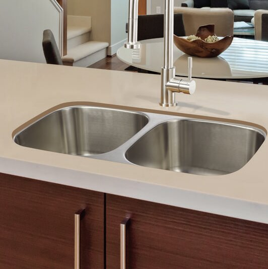 Classic Equal Bowl 33 x 19 Double Basin Undermount Kitchen Sink with Drain Assembly