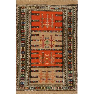 Online Reviews One-of-a-Kind Marini Classical Kilim Shiraz Persian Hand-Knotted 3'9 x 5'8 Wool Orange/Black/Tan Area Rug By Isabelline