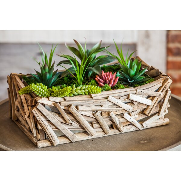 Driftwood Rectangular Wood Planter Box with Galvanized Metal Insert by Evergreen Enterprises, Inc