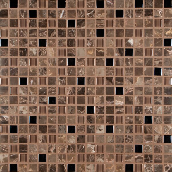 0.625'' x 0.625'' Glass Mosaic Tile in Emperador Café Blend by MSI