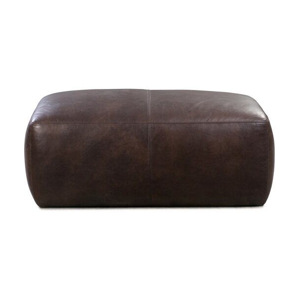 Ashley Leather Pouf by 17 Stories