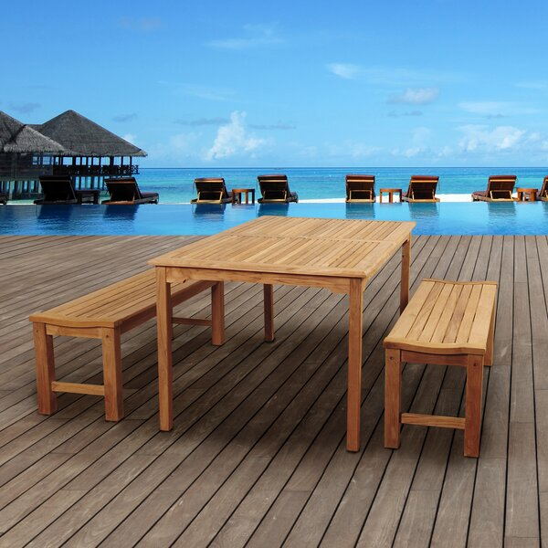 Elsmere 3 Piece Teak Dining Set by Beachcrest Home