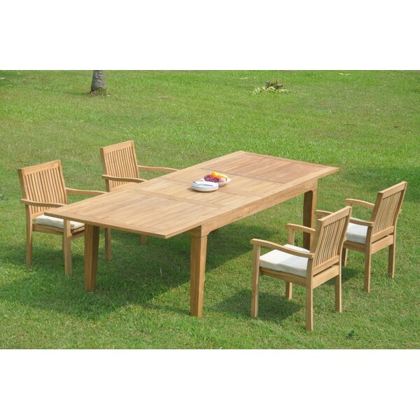 Ramona 5 Piece Teak Dining Set by Rosecliff Heights