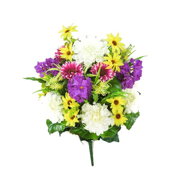 Artificial Blooming Zinnia, Daisy, Lupine with Fillers Mixed Flowers Bush by Admired by Nature