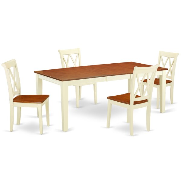Kunze 5 Piece Extendable Solid Wood Dining Set by August Grove