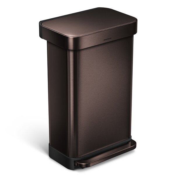 45 Liter Rectangular Step Steel Trash Can with Liner Pocket by simplehuman