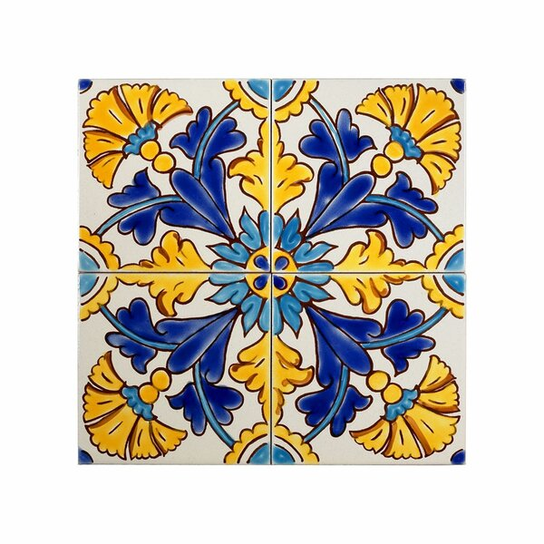 Mediterranean 4 x 4 Ceramic Gibraltar Decorative Tile in Blue/Yellow by Casablanca Market