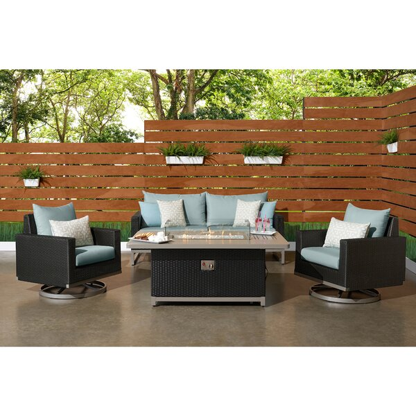Minor 4 Piece Rattan Sunbrella Sofa Seating Group with Cushions by Wade Logan