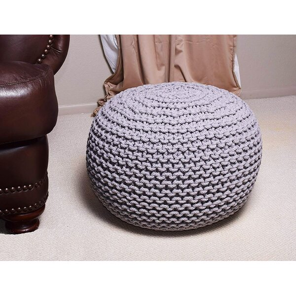 Round Hand Knitted Braided Comfortable Pouf by Mystique Decors