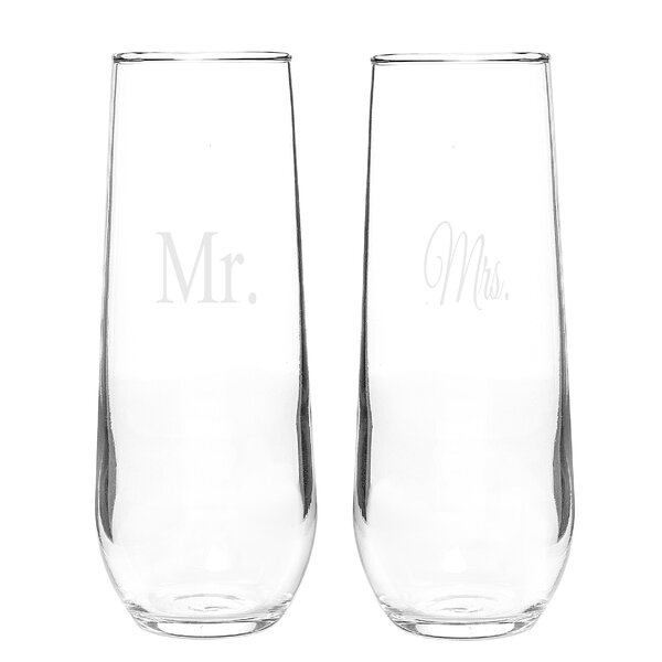 Mr. and Mrs. Stemless Toasting Flute Set (Set of 2) by Cathys Concepts