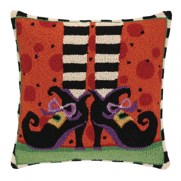 Witch Legs Wool Throw Pillow by Peking Handicraft