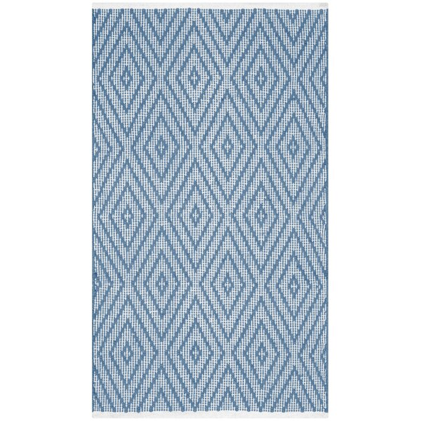 Achilles Hand-Woven Cotton Blue Area Rug by Highland Dunes