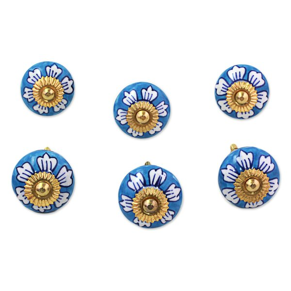 Flowers Ceramic Cabinet Round Knob Multipack (Set of 6) by Novica